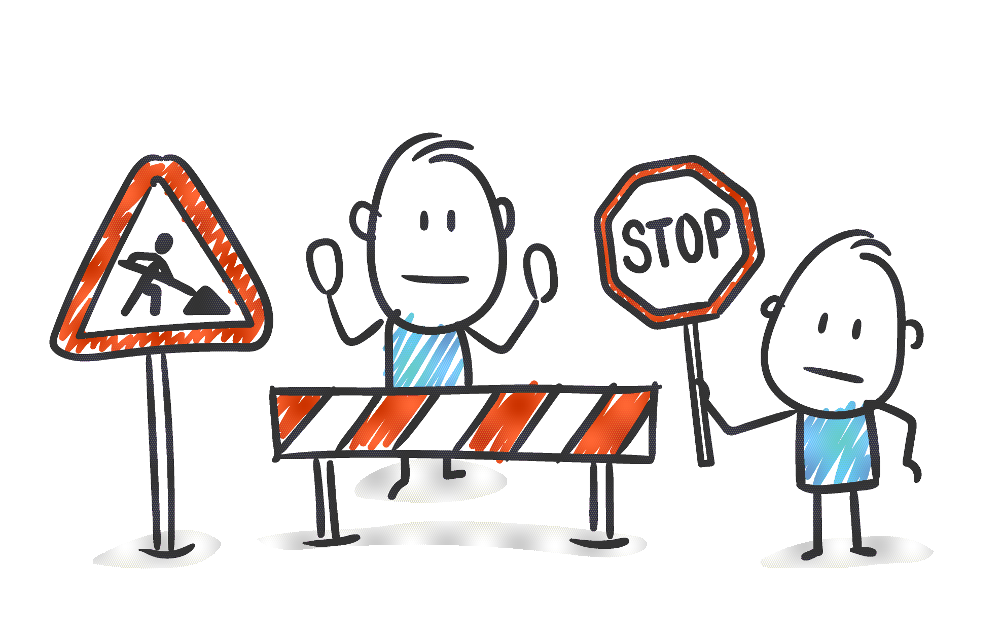 Stick figure workers at construction barrier offer caution hold up Stop sign