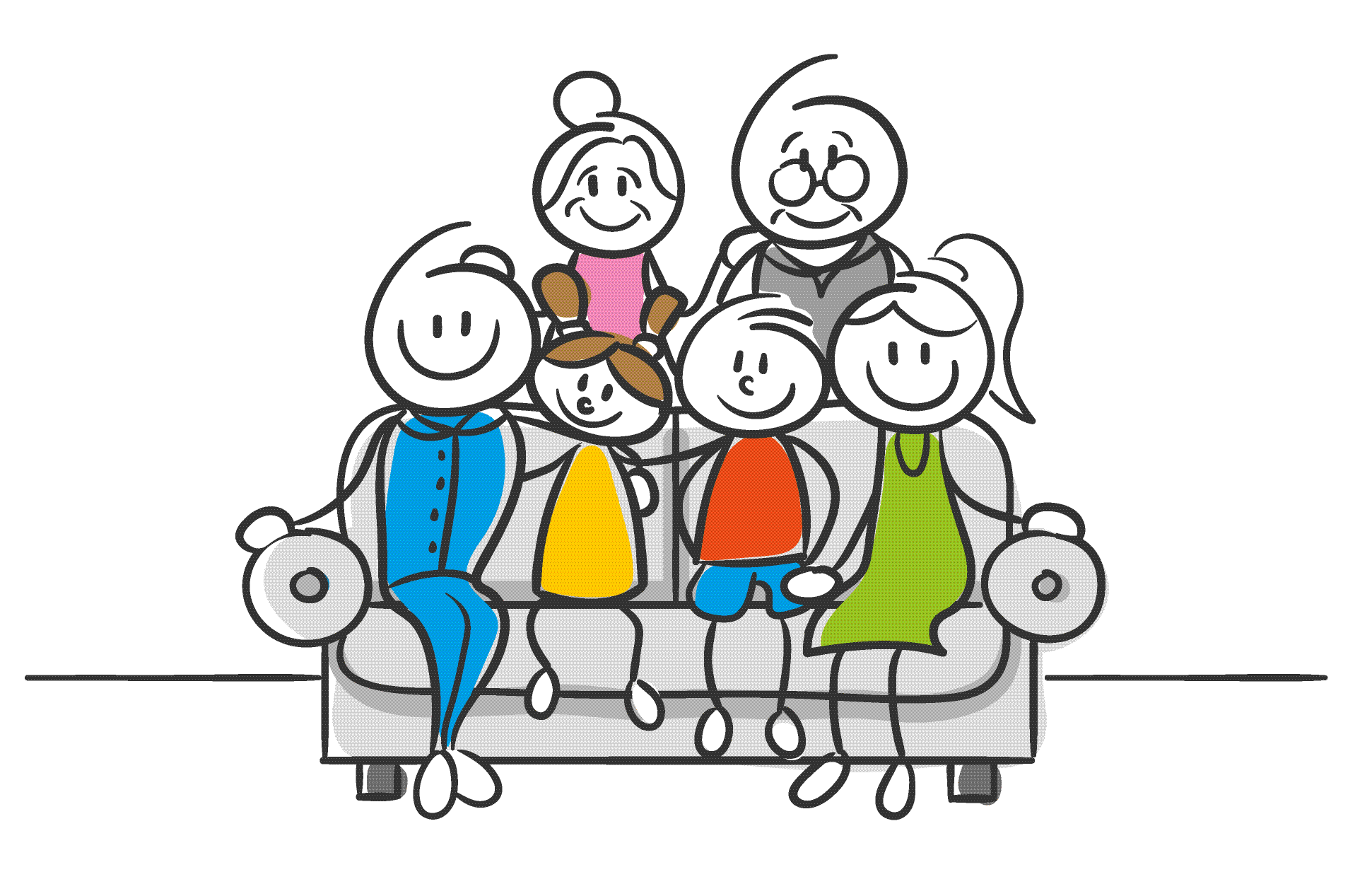Stick Family of Six Sits on Couch Sofa