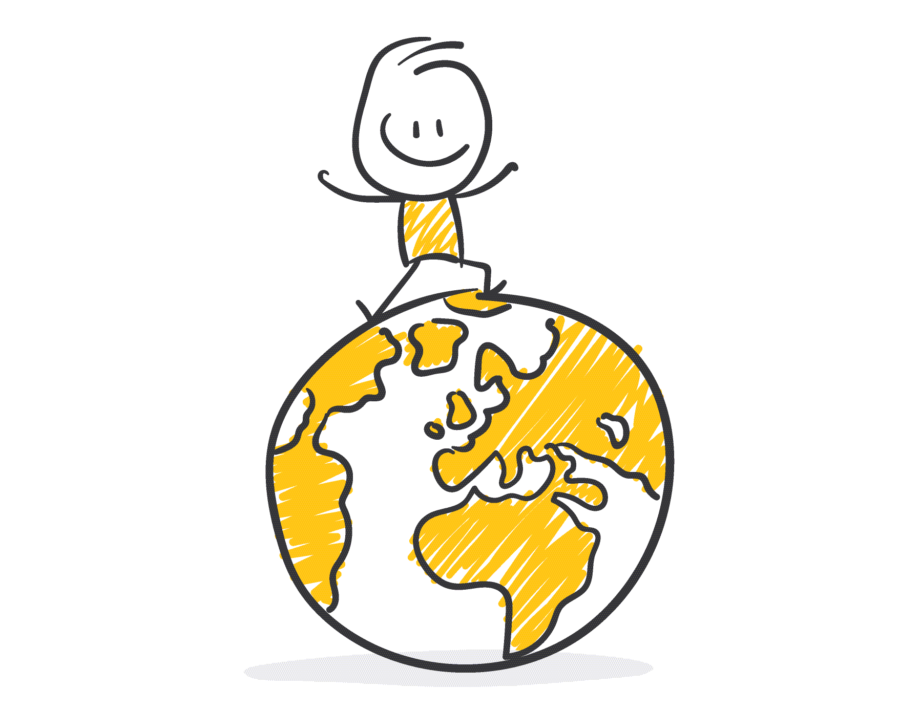 Stick stands on the globe