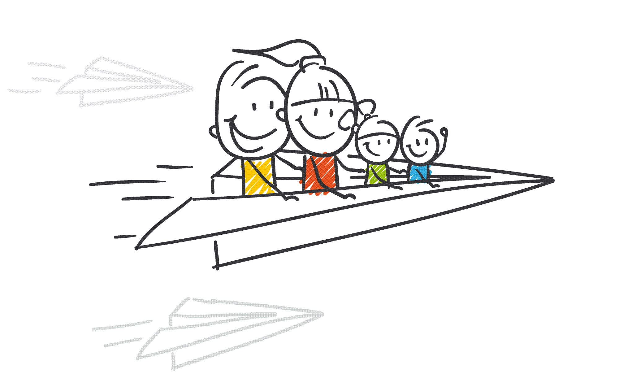 Stick family is flying a paper airplane