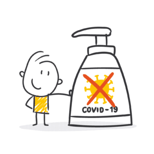 Ari uses hand sanitizer for Covid-19